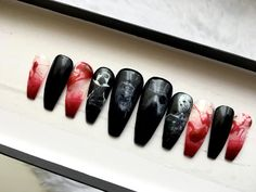 Freddy v Jason Press on Nails | Cult Film | Freddy Krueger | Jason Vorhees | Nightmare on Elm Street | Goth | Witch | Handpainted Nail Art | by DippyCowNails on Etsy