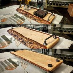 Charcuterie & Cheese Serving Board Made From Reclaimed Wood Wood Shop Projects, Diy Wood Projects, Wood Crafts, Woodworking Projects, Serving Tray Wood, Wood Tray, Serving Platters, Wooden Cheese Board, Cheese Boards