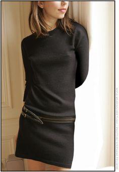 Sofia Coppola - simple black dress with belt Look Fashion, Fashion Beauty, Womens Fashion, Looks Style, Style Me, Black Sweater Dress, Jumper Dress, Sofia Coppola, Moda Paris