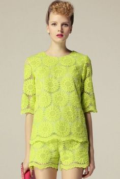 Go Retro! Green Short Sleeve Sunflower Embroidery Blouse With Shorts