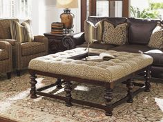 furniture amazing tommy bahama living room furniture using tufted ottoman coffee table covered by cheetah print