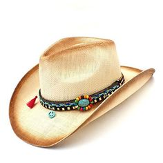 GeorgeB- Handmade Weaven Straw Hats for Women Western Cowboy Hat with  Tassel Band for Lady ca2e58d9a919