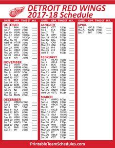 Detroit Red Wings Hockey Schedule 2017-18