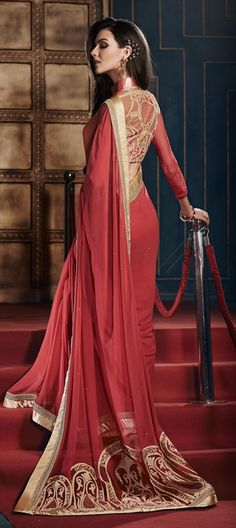 163443 Red and Maroon  color family Embroidered Sarees,Party Wear Sarees in Georgette fabric with Lace,Machine Embroidery,Patch work   with matching unstitched blouse.