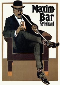 Maxim Bar  by Erdt  1907  , Werbung für eine Bar in München .http://www.vintagevenus.com.au/collections/drinks/products/vintage_poster_print-d383