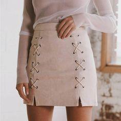 Fashion Autumn Faux Leather Skirts Women Lace Up Suede Skirt Winter Cross High Waist Zipper Split Bodycon Short Pencil Skirts aliexpress.com