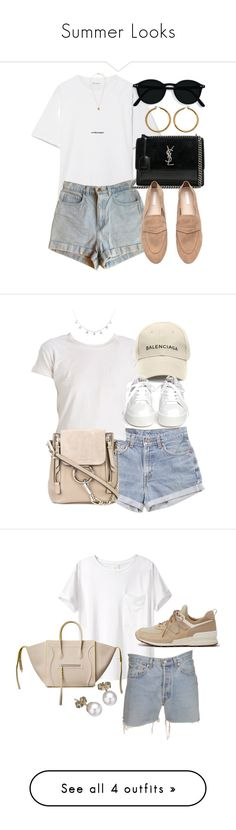 """""""Summer Looks"""" by elenaday ❤ liked on Polyvore featuring Yves Saint Laurent, American Apparel, Vince Camuto, Levi's, Balenciaga, Chloé, Ash, AR SRPLS, New Balance and CÉLINE"""