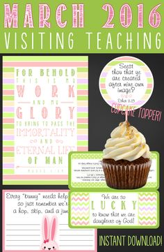 MARCH 2016 Visiting Teaching Printables ~ adorable!! Perfect too since Easter is in March this year! #visitingteaching