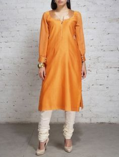 Yellow Zari Embroidered Chanderi Georgette Kurta