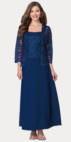 1eb8e92fbb Long Chiffon Silver Mother of Groom Dress Lace 3/4 length Sleeve Jacke –  DiscountDressShop