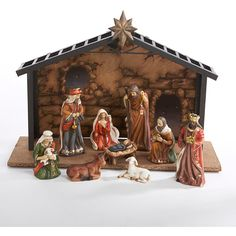 Kurt S. Adler 10-pc. Christmas Nativity Set ($110) ❤ liked on Polyvore featuring home, home decor, holiday decorations, brown, kurt adler nativity set, baby jesus nativity set and kurt adler