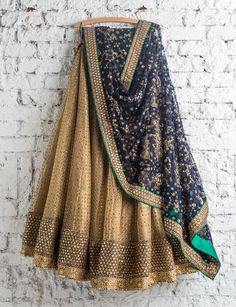 SwatiManish : Antique gold lehenga with persian blue dupatta