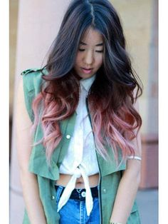 Faded pink dip dye hair over brown.pretty much exactly like this I think but darker near the ends Pink Dip Dye, Pink Ombre Hair, Brunette Ombre, Brunette Hair, Brown Hair Pink Tips, Red Ombre, Ombre Color, Blue Hair, Auburn Ombre