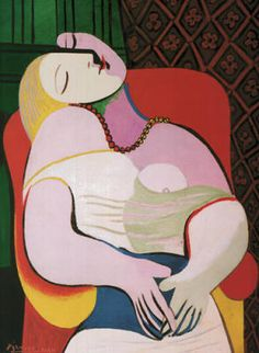 Ttile; Le Rêve (The Dream) 1932. Artist: Pablo Picasso. Cubism: penetrates the surface of objects, use of basic abstract geometric shapes and simultaneously presents objects in various  angles. The lady is painted in a way that the different parts of her body seems detached from one another. Each body part & even the clothes and background looks like a uniquet geometric shape therefore cubism style.