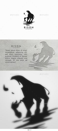 BISON LOGO — Vector EPS #animals #negative space • Available here → https://graphicriver.net/item/bison-logo/11127991?ref=pxcr
