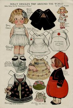 1917 Dolly Dingle Page Dollys Red Cross Costume Artists Grace G Drayton