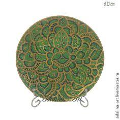 ИЗУМРУДНЫЕ ХОЛМЫ декоративная тарелка - тёмно-зелёный,точечная роспись