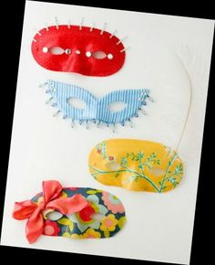 Mask diy red blue yellow Blue Yellow, Red And Blue, Diy Mask, Tableware, Dinnerware, Tablewares, Dishes, Place Settings