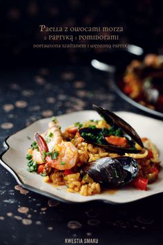 Paella with seafood and pepper Seafood Casserole Recipes, Seafood Recipes, Pasta Recipes, Seafood Meals, Seafood Pizza, Seafood Paella, Seafood Curry Recipe, Curry Recipes, Sea Food Salad Recipes
