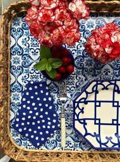 4th of July vignette with Oscar de la Renta Home by Carolyne Roehm