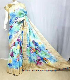 All r pure linen by linen digital print saree Order what's app 7995736811