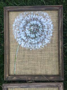 Set of 3 dandelions on burlap rustic by RebecaFlottArts on Etsy