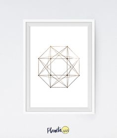 Minimalist Abstract Scandinavian Nordic Interior Faux Gold Foil Leaf Geometric Octagons Polygons Squares Polyhedrons Poster Prints Decor Art