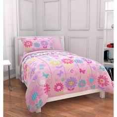 Mainstays Kids Daisy Floral Bed in a Bag Bedding Set: Kids' & Teen Rooms : Walmart.com