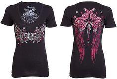 Archaic AFFLICTION Womens T-Shirt HOT SMOKE Guns Tattoo Biker Sinful S-XL $40 a