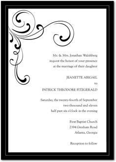 Perfect - Simple Elegance:Black - has postcard response card too - weddingpaperdivas.com