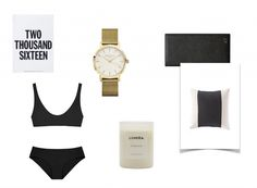 – SHOP HERE Her Swim 'Emma' set, Lumira 'Sirocco' candle, Country Road 'Tiden' cushion, Marjolein Delhaas 2016 diary Rosefield 'Mercer' watch in gold, TDE travel wallet in black – Mercer Watch, 2016 Diary, Barber Gifts, Bikinis, Swimwear, Blog, Shopping, Fashion, Bathing Suits