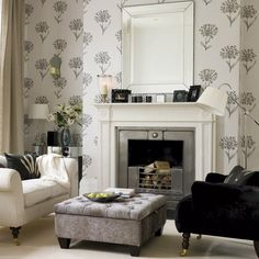 Monochrome and black and white trends in a serene and inviting living space.