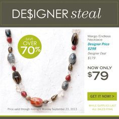 """Sara Blaine has a steal for you! Our dazzling Margo Endless Necklace takes you from desk to date night. Coral and red agates pop and play with quartz in shades of rose, cloudy and smoky. 36"""" long. Available for only $79 through Monday, September 23 or while supplies last. Shop online at http://michelew.jewelry.willowhouse.com/product.aspx?zpid=6858"""