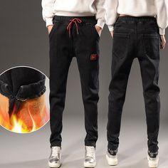 64a60d5b86c Casual Denim Jeans Women 2017 Winter Plus Velvet Thick Harem Pants Elastic  Waist Jeans Female Loose