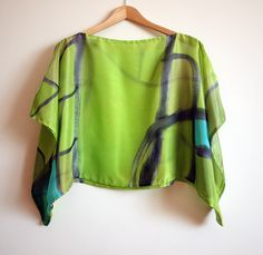 Silk blouse hand painted-Silk scarf-Wedding blouse-Scarves for her-kimono-Silk handpainted-Silk scarf-Silk green-grey-blue 43x18in by gilbea on Etsy