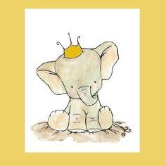 Crowned elephant illustration