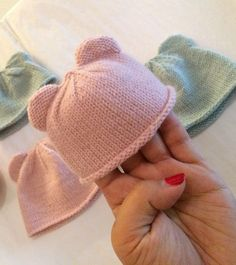 Free Knitting Pattern for Itty Bitty Bear Cub Baby Hat - These easy bear cub hats come in two sizes originally for preemies but Im sure you could adapt for larger sizes. Great stash buster! Designed by Carolyn Ingram. Pictured project by jooney
