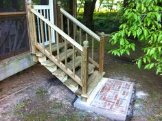 Porch steps with brick landings simple wooden step, no hand rails