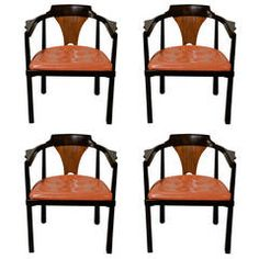 "Set of Four ""Horseshoe"" Chairs by Edward Wormley for Dunbar"