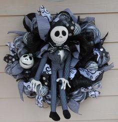 """Jack Skellington Wreath""""The Nightmare before Christmas"""" on Etsy, $65.00"""