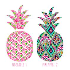 Monogrammed Pineapple Decal - Lilly Pulitzer Inspired