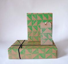 Handprinted linocut geometric giftwrap in green. It is printed from a hand carved sheet of lino using water based inks on 88 gsm kraft paper. Each sheet measures 50 cm by 70 cm.  $5.00