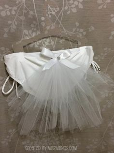 BACHELORETTE Bling Bikini Veil 12 inch Three Tiered Veil with White bow, Bridal Booty Veil clips to any swimsuit or skirt by Mis2Manos, $20.00 USD