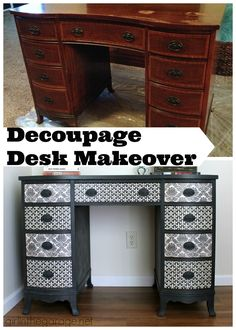Decoupage Desk Makeover – Trash to Treasure - Vintage Büro Dekor Decoupage Desk, Redo Furniture, Upcycled Furniture, Refinishing Furniture, Diy Desk, Metal Desk Makeover, Furniture Makeover, Decoupage Furniture, Desk