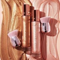 Fenty Beauty Body Lava Body Luminizers, at the surprise of literally no one, are another certified Rihanna hit and lends your body a literal ~glow up~, so beach or no beach, you'll be GLISTENING. Makeup Cosmetics, Iman Cosmetics, Cosmetics Market, Drugstore Makeup, Makeup Goals, Makeup Inspo, Makeup Kit, Candy Makeup, Makeup Collection