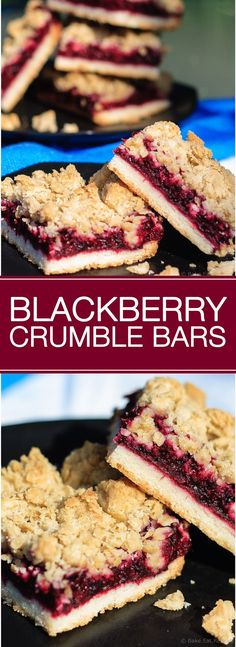 Blackberry Crumble Bars - Easy blackberry crumble bars are perfect for dessert or a special treat to tuck into a lunchbox. A shortbread crust and sweet oatmeal crumble topping with an amazing blackberry filling. Oh my gosh these look amazing Brownie Recipes, Cookie Recipes, Kabob Recipes, Fondue Recipes, Drink Recipes, Healthy Recipes, Easy Desserts, Delicious Desserts, Sweet Desserts