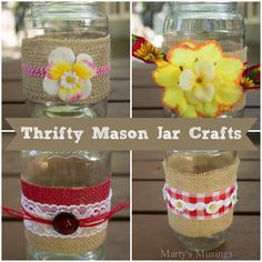 Learn how to use easily found craft items such as burlap, embellishments, ribbons and flowers to make these easy mason jar crafts for a pretty tablescape.