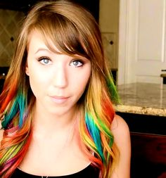Rainbow hair underneath. I love it.