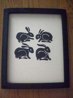 4 black rabbits print