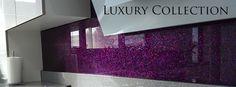 Purple glitter back splash